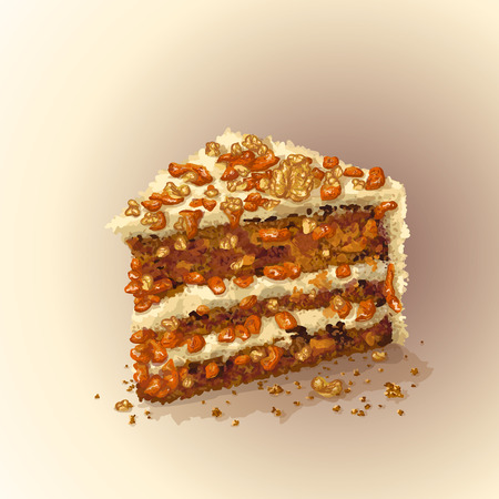 Vector piece of carrot cake with slices of walnuts, dried apricots, prunes, crumbly tender cake layers, which are smeared with fantastic thick cheese cream, delicately tasty. Realistic, hand drawing. Ilustração