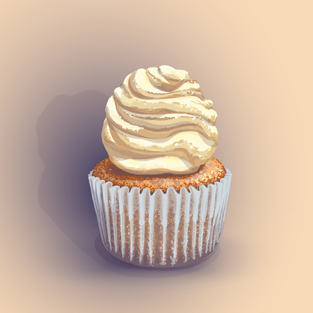 Vector of a crumbly, gentle wet biscuit cupcake with a stunning cream soft air cheese cream, beige color, taste like creme brulee. Blue paper cake pans got wet from the juiciness of the cake. Handmade Illustration