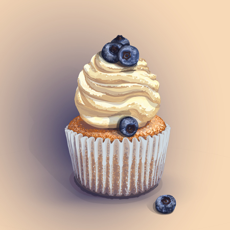 Vector of a crumbly, gentle wet biscuit cupcake with a stunning cream soft air cheese cream, taste creme brulee, with juicy fresh blueberry. Blue paper cake pans got wet from the juiciness of the cake