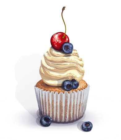 Vector of a crumbly, gentle wet biscuit cupcake with a stunning soft air cheese cream, brulee, with juicy fresh blueberry and cherry. Light-blue paper cake mold got wet from the juiciness of the cake Stock Illustratie