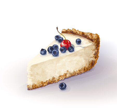 Vector piece of cheesecake cake with airy and tender, delicate creamy-curd cheese. Crisp and crumble cake with back, appetizing, realistic, homemade cakes, with bleaberries and cherry. Tasty, healthy