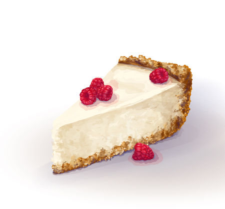 Vector piece of cheesecake cake with airy and tender, delicate creamy-curd cheese. Crisp and crumbly cake with raspberry, appetizing, realistic, homemade, hand-drawn. Tasty, healthy, delicious Illustration