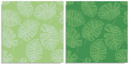 A vector set of a seamless pattern with sprigs of jungles leaves. Hand-drawn on sheet at the graphic style. Only lines, compound path, good for make new brush. Different colors, monstera, green shades.