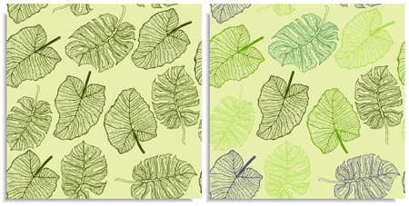 A vector set of a seamless pattern with sprigs of jungles leaves. Hand-drawn on sheet at the graphic style. Lines, compound path. Green color shades, monstera, alocasia, colocasia jungle leaves mix