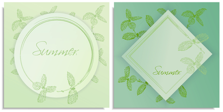 Vector set of postcards templates, invitation with hand-drawn graphics sprigs of beautiful mint, Gently color shades of green, little gradient. Lettering: summer, you can change it or use as it is.