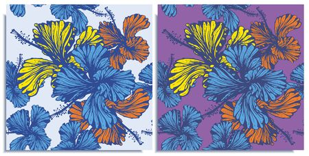 Vector set of seamless patterns with wonderful colorful hibiscus, hand-drawn in graphic and real-style at the same time. Delicate colors: yellow, purple, blue, orange. Looks vintage, beautiful,holiday