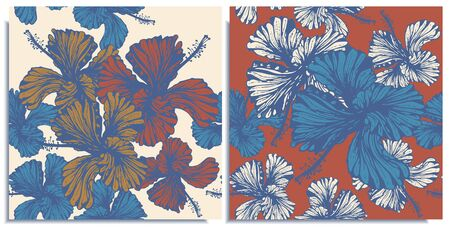 Vector set of seamless patterns with wonderful colorful hibiscus, hand-drawn in graphic and real-style at the same time. Delicate colors: red, purple, white, orange. Looks vintage, beautiful
