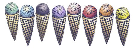 Vector hand drawn set of tasty ice cream flavor cherry, strawberry, orange, lemon, mint, berries, blue curacao ice cream, blueberry, blackberry. Drawn in graphic and real-style by lines. Retro style
