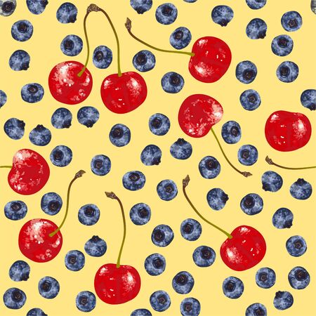 Vector seamless pattern with hand-drawn realistic blueberry, like paints, cherries, juicy colors, appetizing, fresh, tasty, distinct over the background of yellow color. Summer wild berries delicacy