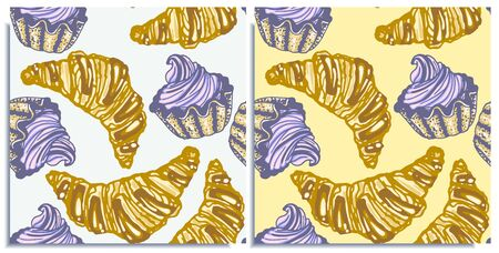 Vector set of seamless patterns with wonderful cupcake, croissants. Crumbly, gentle wet biscuit cupcake with a stunning cream soft air cheese cream, violet, yellow, taste like strawberry. Hand-drawn.