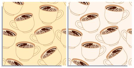 Vector set of seamless patterns with wonderful coffee with realistic froth, cappuccino, latte, tasty. Hand-drawn in graphic and real-style at the same time. Porcelain cup transparent. Good wrap, cover Иллюстрация