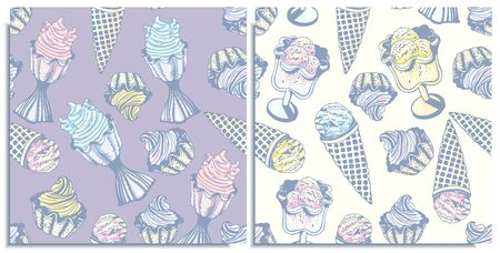Vector set of seamless patterns with a wonderful balls cone ice cream,berry , lemon, flavor mint ice cream in bowls. Hand-drawn, graphic, style. Tender, soft, light, sleep color: purple, pink, yellow.