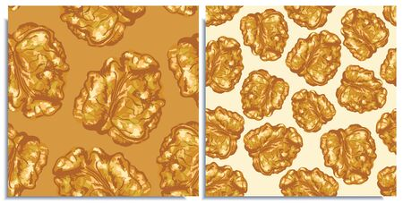 Vector seamless pattern with hand-drawn realistic walnuts, like paints, juicy colors, appetizing looks, fresh, tasty pices of nut, natural colors. Summer wild nuts ripe, scattered, tasty, appetising