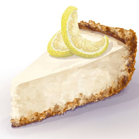 Vector piece of cheesecake cake with airy and tender, delicate creamy-curd cheese. Crisp and crumble cake with back, appetizing, realistic, homemade cakes, with lemon for decoration. Tasty, healthy