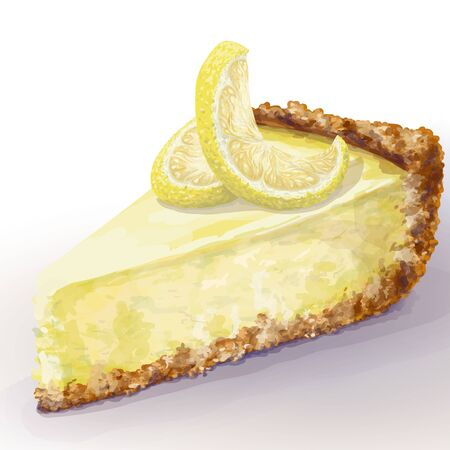 Vector piece of cheesecake with airy and tender, delicate creamy-curd cheese. Crisp and crumble cake with back, appetizing, realistic, homemade cakes with lemon, decorate top. Healthy, cottage pastry Ilustração
