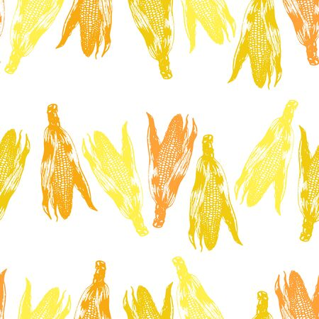Vector set of seamless patterns with wonderful colorful corn, hand-drawn in graphic and real-style at the same time. Seasonal colors: brown-orange, golden, beige. Ripe ears of corn, season vegetable.