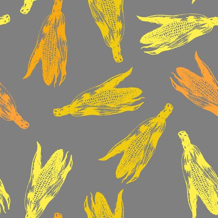 Vector set of seamless patterns with wonderful colorful corn, hand-drawn in graphic and real-style at the same time. Colorful: orange, yellow, dark-grey. Ripe ears of corn, season vegetable, scattered Ilustrace