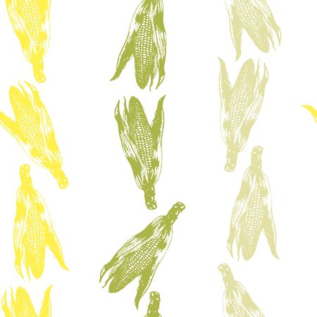 Vector set of seamless patterns with wonderful colorful corn, hand-drawn in graphic and real-style at the same time. Seasonal colors: green, yellow, ochre. Ripe ears of corn, maizes arrange in line