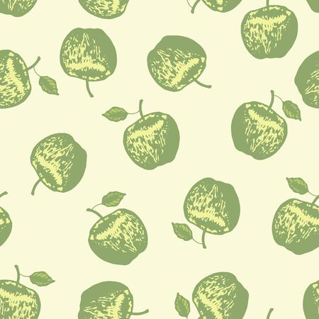 Vector set of seamless patterns with wonderful colorful tasty nice apples, hand-drawn in graphic, real-style at the same time. Seasonal color green. Green leaf. The scattered, juicy whole fresh apples Ilustrace