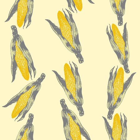 Vector set of seamless patterns with wonderful colorful corn, hand-drawn in graphic and real-style at the same time. Seasonal colors: gold, green. Tasty, appetizing, Ripe corn ears, season vegetable