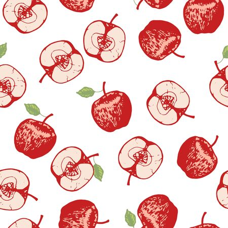 Vector set of seamless patterns with wonderful colorful tasty nice apples, hand-drawn in graphic, real-style at the same time. Season color red. Green leaf. The scattered, juicy whole apples, halves