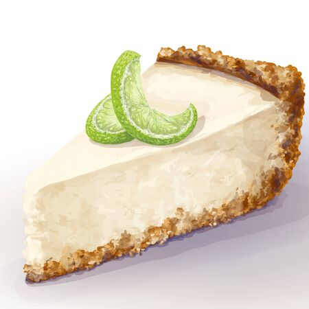 Vector piece of cheesecake cake with airy and tender, delicate creamy-curd cheese. Crisp and crumble cake with back, appetizing, realistic, homemade cakes, with ripe curved lime, decor. Cottage cake