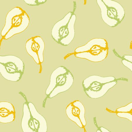 Vector set of seamless patterns with wonderful colorful tasty nice pears, hand-drawn in graphic, real-style at the same time. Seasonal color green. Green leaf. The scattered, juicy graphic pear half Zdjęcie Seryjne - 130810545