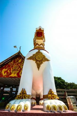 wiwekaram: Lion at the entrance of Wat Wang Wiwekaram located on Sangkhla buri, Thailand Stock Photo