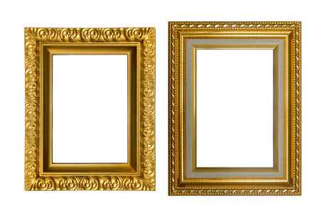 Beautiful gold frames isolated on white background