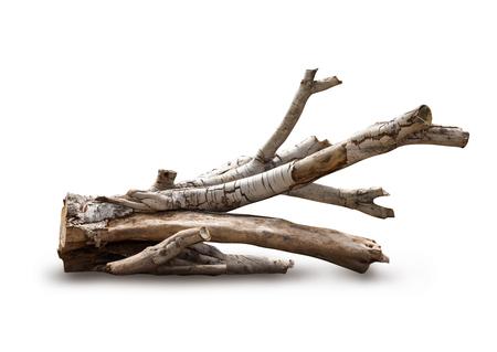 白い背景の上の隔離された流木木の切り株