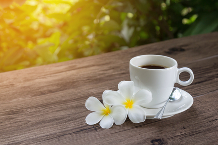 Relaxing time with a cup of coffee on wooden table with warm sunlight in a garden