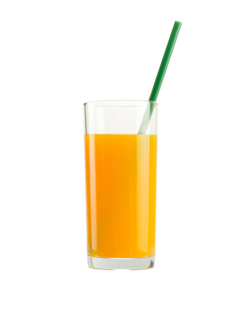 A glass of orange juice isolated on white background with clipping path Imagens