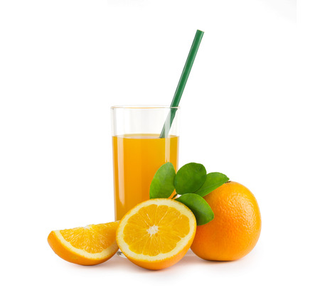 A glass of orange juice and a slice of orange isolated on white background with clipping path