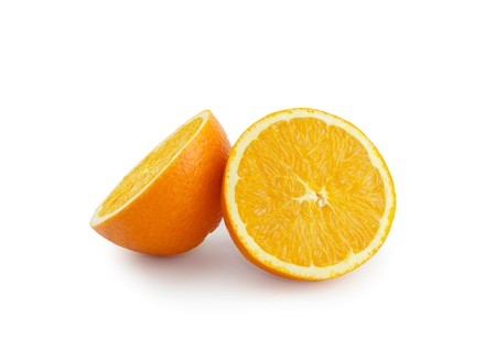 Isolated slice orange on white background Imagens