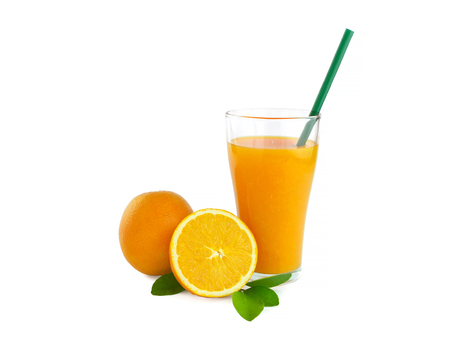 클리핑 패스와 함께 흰색 배경에 고립 오렌지 주스 스톡 콘텐츠