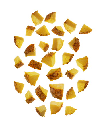 A slice of pineapple in pieces isolated on white background easy for dicut useful for graphic decoration