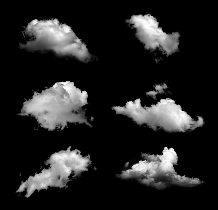Collection of isolated cloud on black background