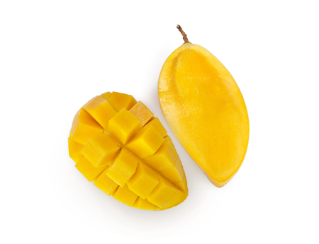 Fresh mango sliced isolated on white background