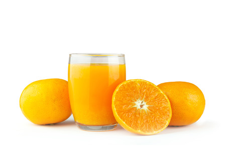 Isolated of glass of orange juice and a slice of orange fruit on white background
