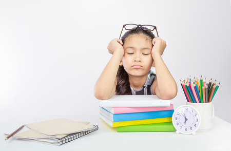 Cute asian girl tired on her study a concept for unsuccessful education system