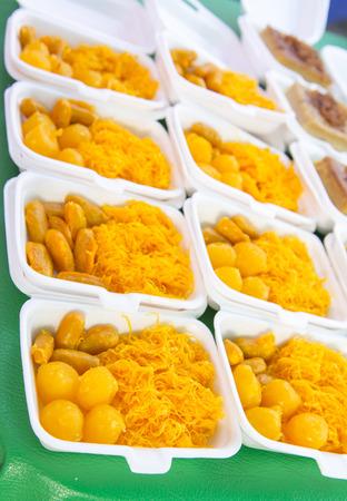 yoke: egg yoke fudge balls cooked in syrup, thai dessert