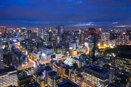 Tokyo, City Aerial Skyscape View Of Buildings And Street. Japan, Asia Photo