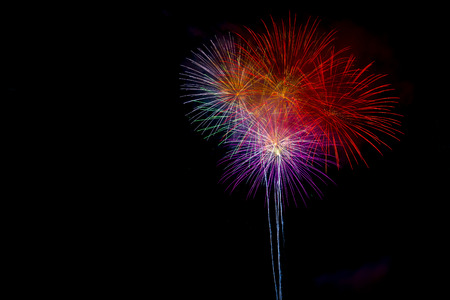 merry chrismas: Beautiful colorful firework display for celebration happy new year and merry chrismas on isolated background
