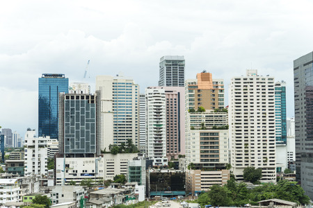 silom: building and cityscape Bangkok skyline, Thailand.