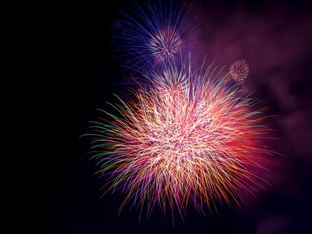 merry chrismas: Beautiful colorful firework display for celebration happy new year and merry chrismas on background