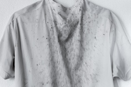 Very dirty white t-shirt sport wear stain Impurities stain grime on shirt