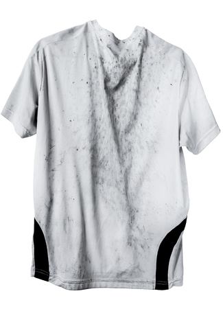 grime: Very dirty white t-shirt sport wear stain Impurities stain grime on shirt