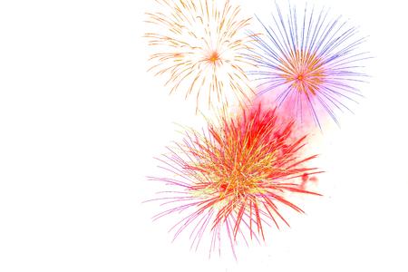 салют, изолированных на белом background- фейерверк празднования счастливого времени Фото со стока