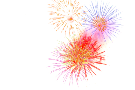 firework isolated on white background-  firework celebration  happy time Banco de Imagens