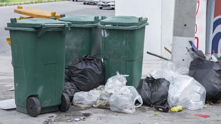 problem: Garbage bins overflow problem Stock Photo